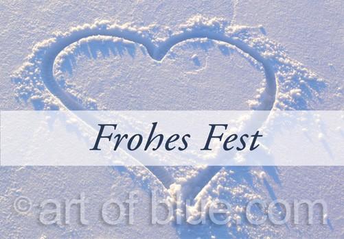 """Grusskarte """"Frohes Fest"""" Schneeherz p428"""