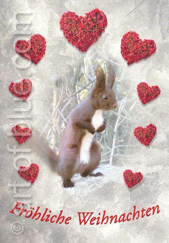 """P737 Grusskarte Eichhörnchen """"Fröhliche Weihnachten"""""""