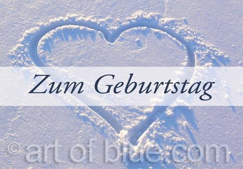 Liebeskarte Zum Geburtstag Im Winter Schneeherz Zum Geburtstag