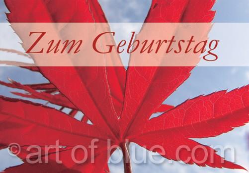 """Grusskarte Ahorn """"Zum Geburtstag"""" p437"""