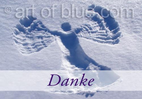 "Grusskarte Engel im Schnee ""Danke"" p454"