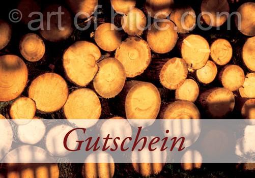 """Grusskarte """"Gutschein"""" mit viel Holz p452"""